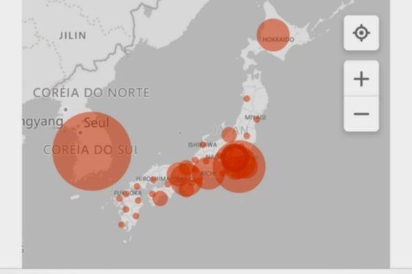Portal Japão - ligando pessoas, lugares e culturas no universo digital. Kanji do dia e Glossario das Partes do Corpo Humano em Japonês. Mapa Tempo Real da Contaminação do Corona Vírus com Lista de Províncias